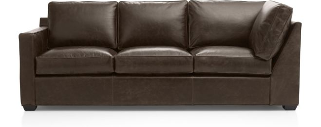Davis Leather Left Arm Corner Sofa shown in Libby, Cashew