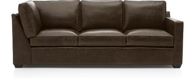 Davis Leather Right Arm Corner Sofa shown in Libby, Cashew