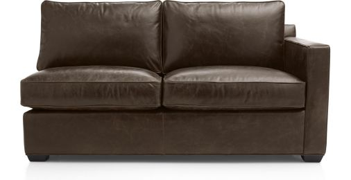 Davis Leather Right Arm Full Sleeper Sofa with Air Mattress shown in Libby, Cashew