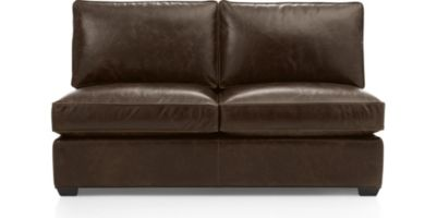 Davis Leather Armless Full Sleeper Sofa shown in Libby, Cashew