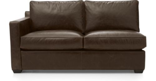 Davis Leather Left Arm Full Sleeper Sofa shown in Libby, Cashew