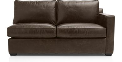 Davis Leather Right Arm Full Sleeper Sofa shown in Libby, Cashew