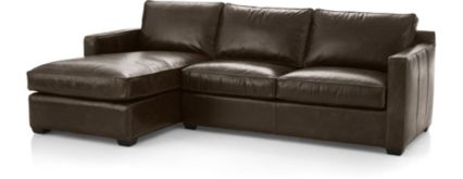 Davis Leather 2-Piece Sectional Sofa (Left Arm Chaise, Right Arm Apartment Sofa) shown in Libby, Cashew