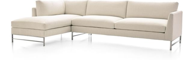 Genesis Brushed Stainless Steel 2-Piece Sectional (Right Arm Sofa, Left Arm Chaise) shown in Vail, Snow