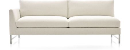 Genesis Left Arm Sofa with Brushed Stainless Steel Base shown in Vail, Snow