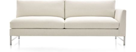 Genesis Right Arm Sofa with Brushed Stainless Steel Base shown in Vail, Snow