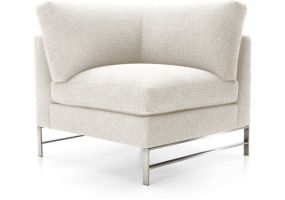 Genesis Left Corner Chair with Brushed Stainless Steel Base shown in Vail, Snow