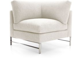 Genesis Right Corner Chair with Brushed Stainless Steel Base shown in Vail, Snow