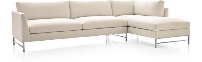 Genesis Brushed Stainless Steel 2-Piece Sectional (Left Arm Sofa, Right Arm Chaise) shown in Vail, Snow