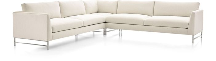 Genesis Brushed Stainless Steel 3-Piece Sectional (Left Arm Sofa, Left Corner, Right Arm Sofa) shown in Vail, Snow