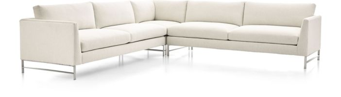 Genesis Brushed Stainless Steel 3-Piece Sectional (Right Arm Sofa, Right Corner, Left Arm Sofa) shown in Vail, Snow