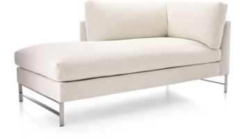 Genesis Left Arm Chaise with Brushed Stainless Steel Base shown in Vail, Snow