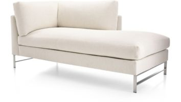 Genesis Right Arm Chaise with Brushed Stainless Steel Base shown in Vail, Snow