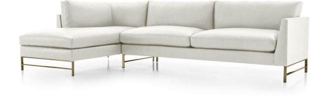 Genesis Leather Brushed Brass  2-Piece Sectional (Right Arm Sofa, Left Arm Chaise) shown in Groundworx, White