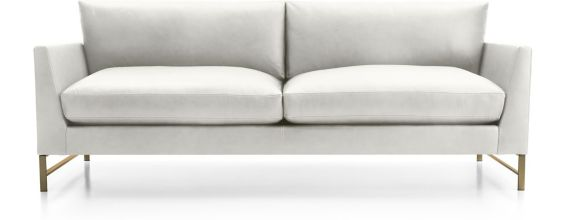 Genesis Leather Sofa with Brushed Brass Base shown in Groundworx, White