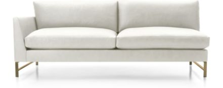 Genesis Leather Left Arm Sofa with Brushed Brass Base shown in Groundworx, White