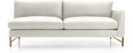 Genesis Leather Right Arm Sofa with Brushed Brass Legs shown in Groundworx, White