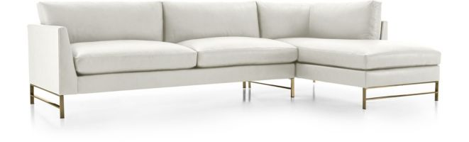 Genesis Leather Brushed Brass  2-Piece Sectional(Left Arm Sofa, Right Arm Chaise) shown in Groundworx, White