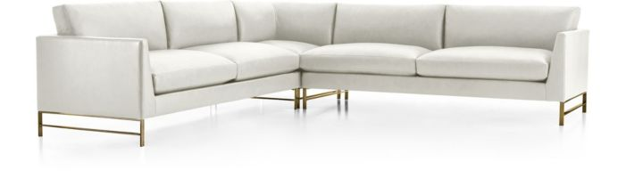 Genesis Leather Brushed Brass  3-Piece Sectional(Left Arm Sofa, Left Corner, Right Arm Sofa) shown in Groundworx, White