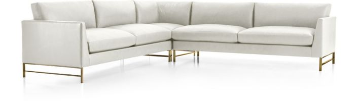 Genesis Leather Brushed Brass  3-Piece Sectional(Right Arm Sofa, Right Corner, Left Arm Sofa) shown in Groundworx, White