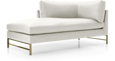 Genesis Leather Left Arm Chaise with Brushed Brass Base shown in Groundworx, White