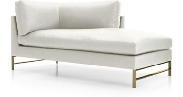 Genesis Leather Right Arm Chaise with Brushed Brass Base shown in Groundworx, White