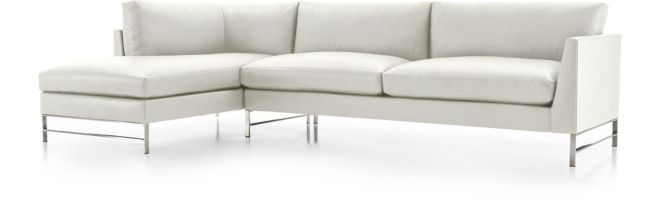 Genesis Stainless Steel 2-Piece Sectional (Right Arm Sofa, Left Arm Chaise) shown in Groundworx, White