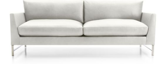 Genesis Leather Sofa with Brushed Stainless Steel Base shown in Groundworx, White