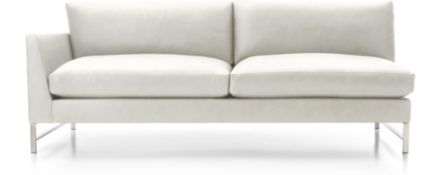 Genesis Leather Left Arm Sofa with Brushed Stainless Steel Base shown in Groundworx, White