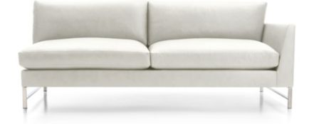 Genesis Leather Right Arm Sofa with Brushed Stainless Steel Base shown in Groundworx, White