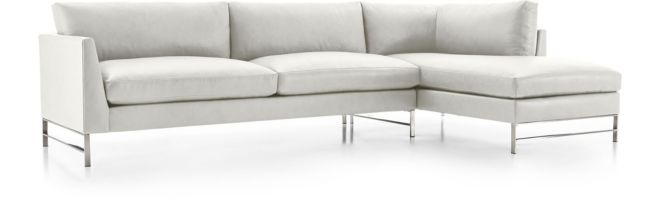 Genesis Stainless Steel 2-Piece Sectional (Left Arm Sofa, Right Arm Chaise) shown in Groundworx, White