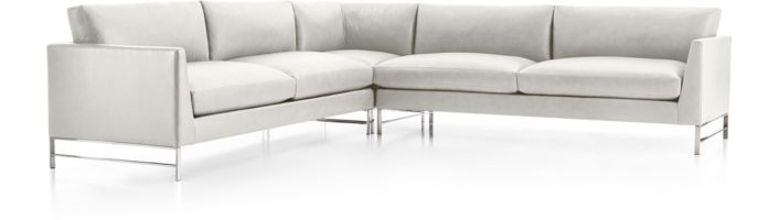 Genesis Stainless Steel 3-Piece Sectional (Right Arm Sofa, Right Corner, Left Arm Sofa) shown in Groundworx, White