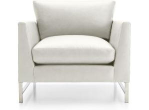 Genesis Leather Chair with Brushed Stainless Steel Base shown in Groundworx, White