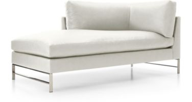 Genesis Leather Left Arm Chaise with Brushed Stainless Steel Base shown in Groundworx, White
