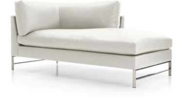 Genesis Leather Right Arm Chaise with Brushed Stainless Steel Base shown in Groundworx, White