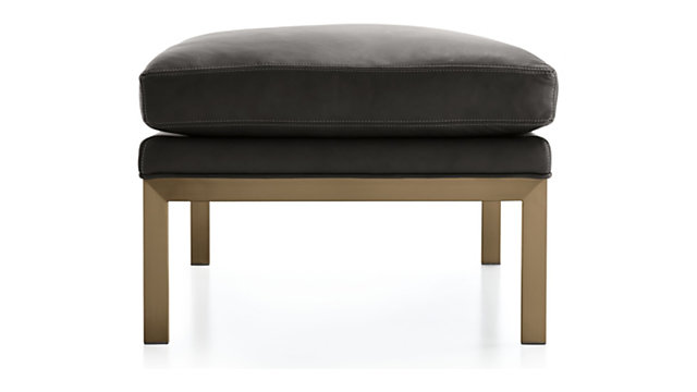 Milo Baughman ® Leather Ottoman with Brushed Brass Base shown in Groundworx, Jet