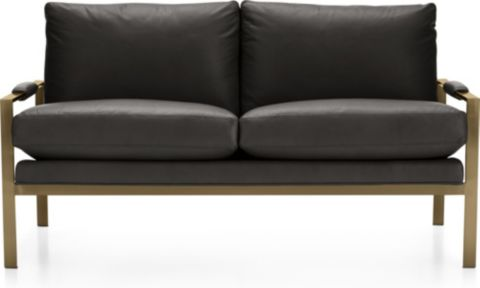 Milo Baughman ® Leather Settee with Brushed Brass Base shown in Groundworx, Jet