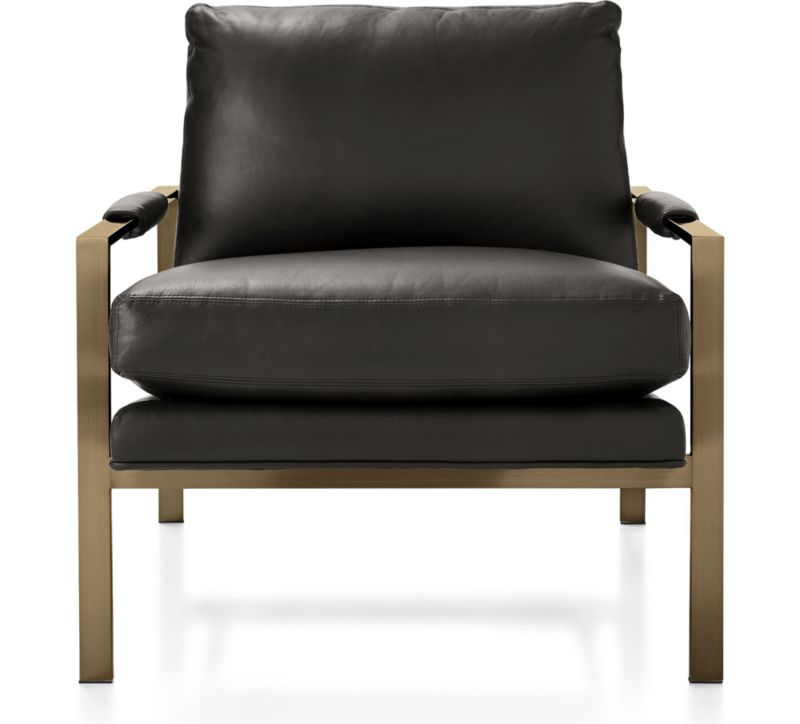 Milo Baughman Leather Chair With Brushed Brass Base + Reviews | Crate And  Barrel