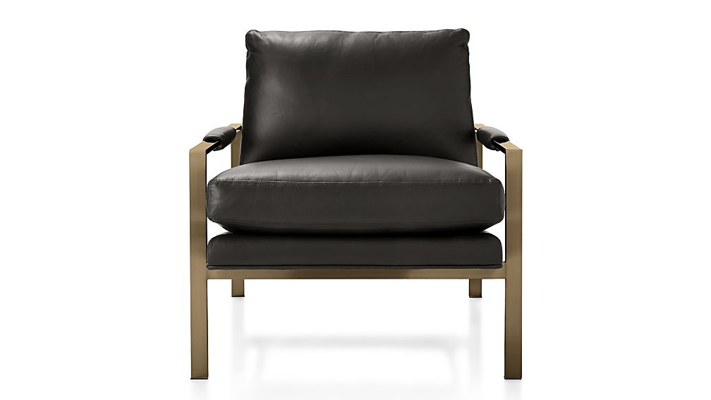 Milo Baughman ® Leather Chair with Brushed Brass Base - Image 2 of 7