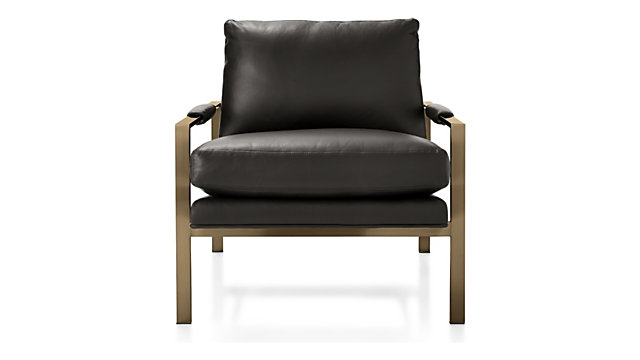 Milo Baughman ® Leather Chair with Brushed Brass Base shown in Groundworx, Jet