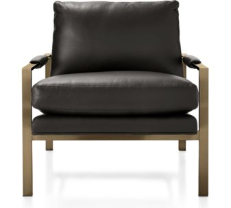 Milo Leather Chair with Brushed Brass Base shown in Groundworx, Jet