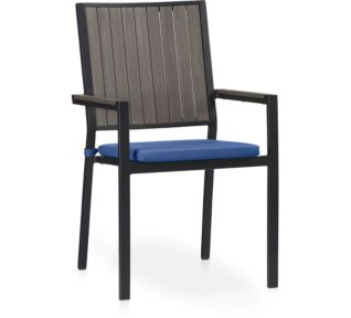 Alfresco Grey Dining Chair with Cushion shown in Sunbrella, Mediterranean Blue