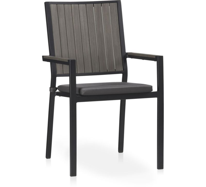 Grey Stackable Outdoor Dining Chair & Grey Cushion | Crate ...