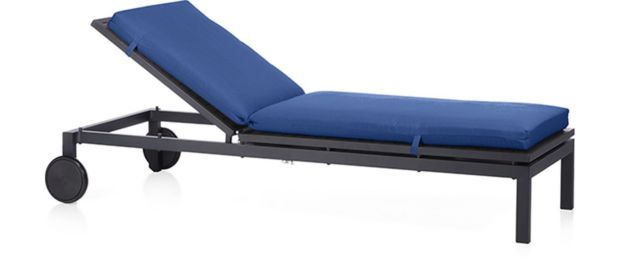 Alfresco Grey Chaise Lounge with Cushion. shown in Sunbrella, Mediterranean Blue