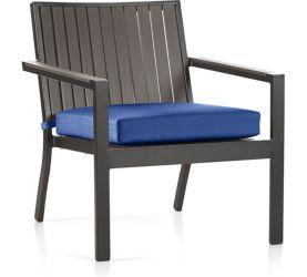 Alfresco Grey Lounge Chair with Cushion shown in Sunbrella, Mediterranean Blue