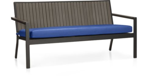 Alfresco Grey Sofa with Cushion shown in Sunbrella, Mediterranean Blue