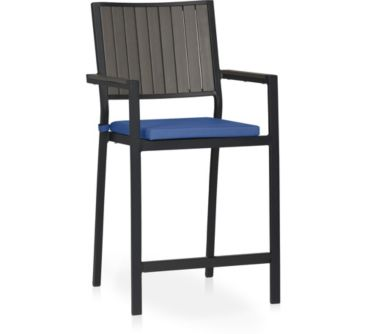 Alfresco Grey Counter Stool with Cushion shown in Sunbrella, Mediterranean Blue