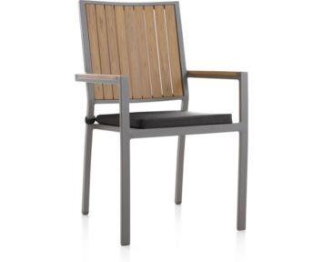 Alfresco Natural Dining Chair with Sunbrella ® Cushion shown in Sunbrella, Charcoal