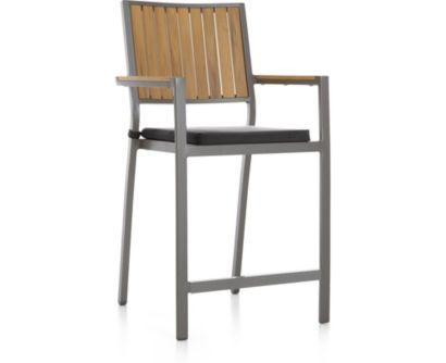 "Alfresco Natural 24"" Counter Stool with Sunbrella ® Cushion shown in Sunbrella, Charcoal"