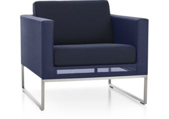 Dune Lounge Chair with Cushions shown in Sunbrella, Navy